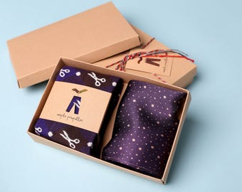 Men's gift pure silk pocket square and matching dress socks | scissors dot design