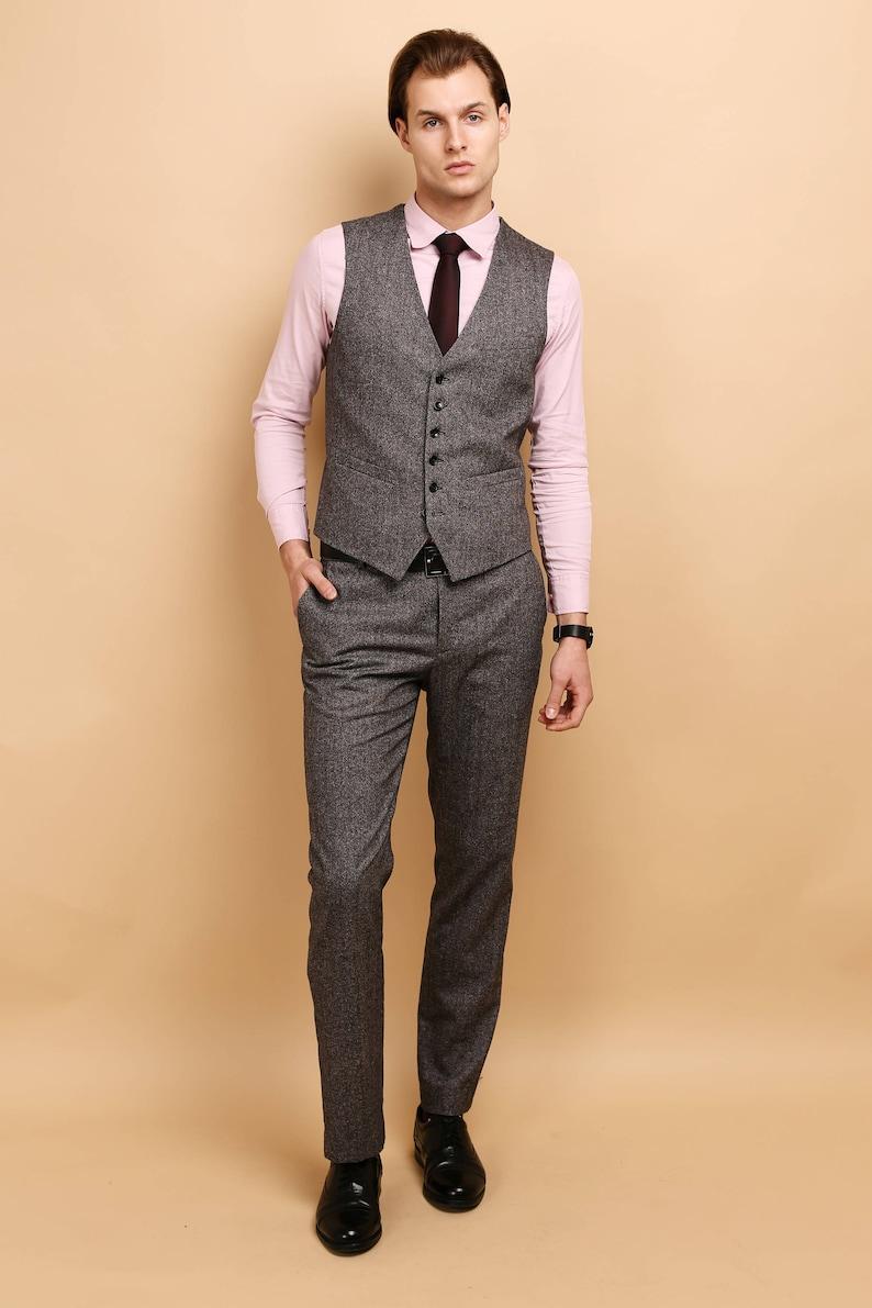 8f1354eb257 Mens tweed 2 piece vest pants SET wool vested suit mens