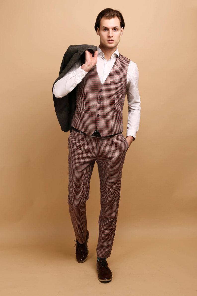 3263119fe98 Mens wool 2 piece vest pants SET wool vested suit mens