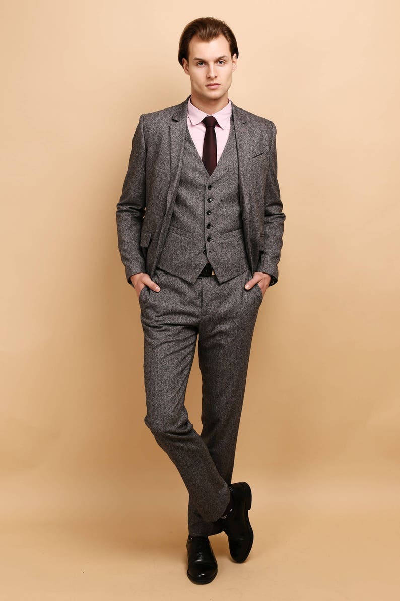 Men's Vintage Style Suits, Classic Suits Mens tweed 3 piece SUIT | wool vested suit | mens grey tweed suit | mens purple tweed tailored suit $439.00 AT vintagedancer.com