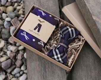 Mens gift dress socks and matching bow tie | deep purple & dark chocolate hues