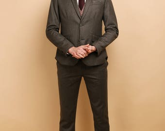 Mens 3 piece suit in moss green wool