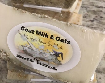 Goat Milk & Oats bar, natural, handcrafted, soothing, organic, soap, bath witch