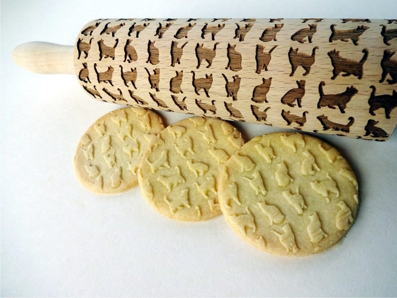 Meow CATS Embossing Rolling pin Wooden laser engraved rolling pin with cat pattern Engraved rolling pin Cats