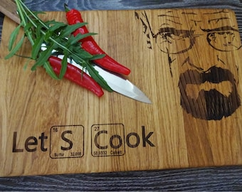 """LET'S COOK, Breaking Bad-  Handmade, Lazer Engraved Cutting Board 8x13"""" or 10 x 15"""" or 12x15"""". Ideal gift for wedding . Choping block"""