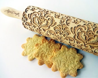 DAMASK Embossed Rolling pin. Laser cut wooden roller for embossed cookies with oriental flowers by Algis Crafts