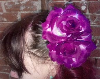 Handmade Purple Rose cluster Hair Corsage Clip