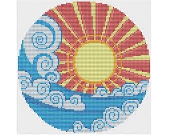 Ocean Sunset - Counted Cross Stitch Pattern (X-Stitch PDF)