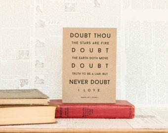 Never Doubt I Love Hamlet Card: Brown Kraft Paper