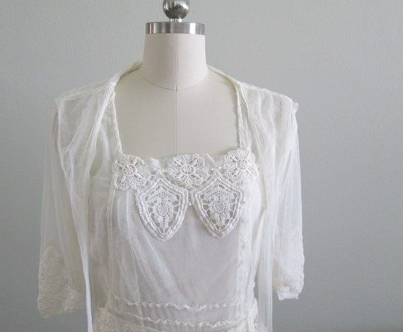 Antique Edwardian Tulle and Lace Lingerie Dress/Te