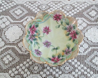 Hand Painted Nippon Maple Leaf Footed Candy Dish/Bowl  #16072