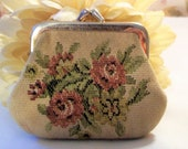Western Germany Made Small Brocade Coin Purse Pink Roses w Foliage Vintage 1950 39 s Aged Worn Kiss Lock Frame Good Condition