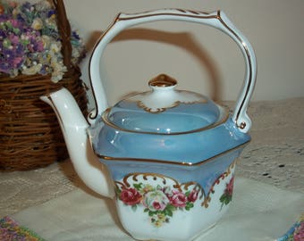 Gorgeous Victorian Style Diminutive Blue Teapot With Rose Bouquets Gold Gilt Accents Perfect for Her Excellent Condition Gifting Teapot