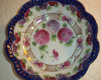 Antique Royal Nippon Serving Bowl Pink/Purple Asters Cobalt Blue Band Gold Filgree Accents Rare Nippon Porcelain Collectible Bowl