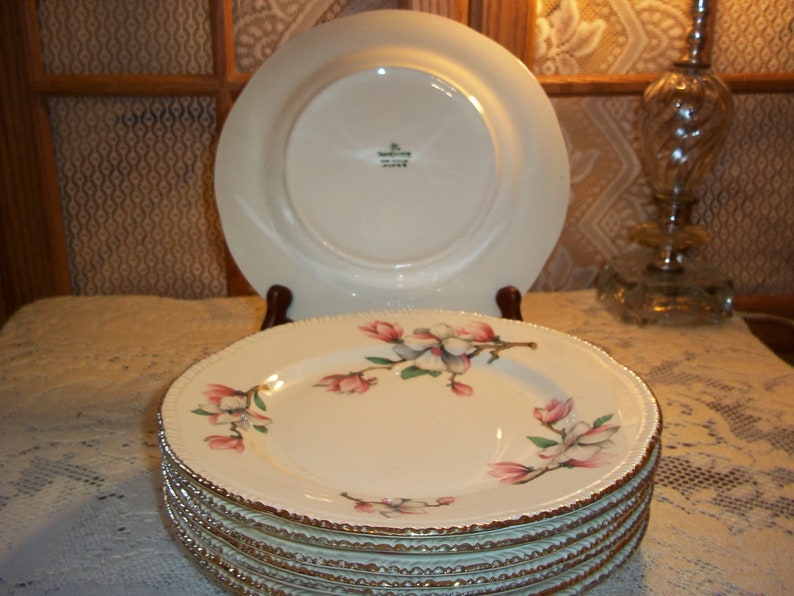 Homer Laughlin Dogwood Pattern Dinner Plates 8 Available with the Liberty Gold Ribbed Edge Vintage 1950/'s Very Good Condition Replacements