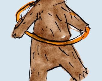 Handmade Greetings Card - Bear hulahoop