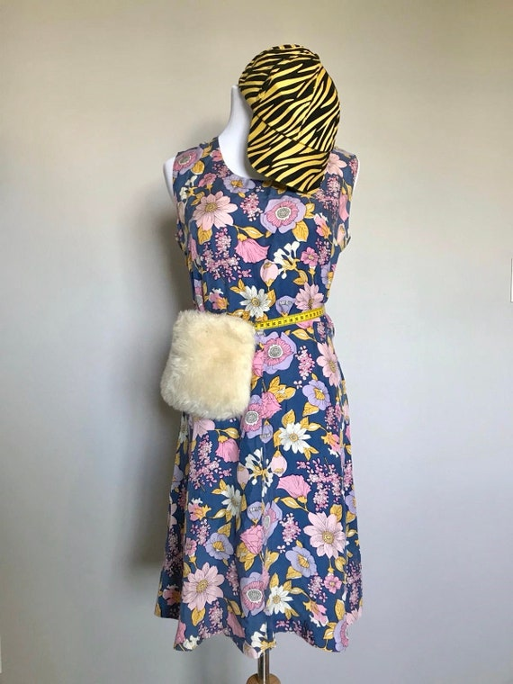 100% Silk 80s Floral Fit & Flare Dress