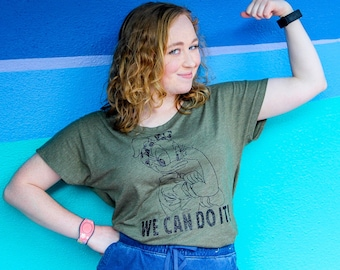 07241798eb1 Daisy Duck We Can Do It Rosie the Riveter Adult Unisex and Women's Dolman  Scoop Neck Army Green T-Shirt