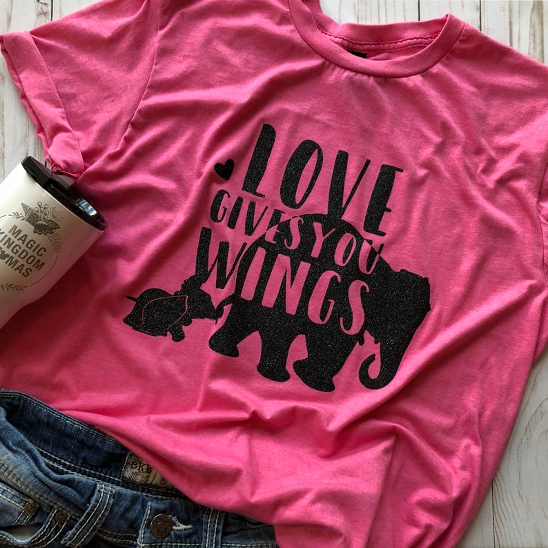 7a57217d1f6f Baby Elephant and Mama Elephant Pink with Black Glitter