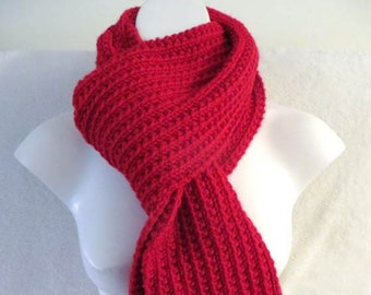 f8133bc1d Red Knit Scarf, Rib Knit, 71 inches, Womans Scarf, Mans Scarf, Plain Red  Scarf