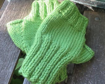 Lime Green Fingerless Gloves, Hand Knit, Pale Green Womens Texting Gloves
