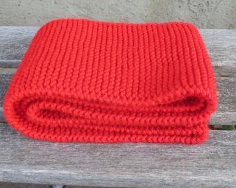 07ce6dbc11119 Skinny Red Hand Knit Scarf