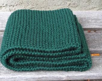 c9865631dd1fa4 Skinny Green Hand Knit Scarf, 5.5 x 72 inches, Narrow Dark Green Knitted  Scarf