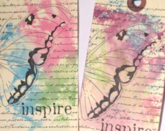 Butterfly Gift Tags, Set of 4, Inspire, Hand Stamped Butterfly Tags, Scrapbooking, Card Making