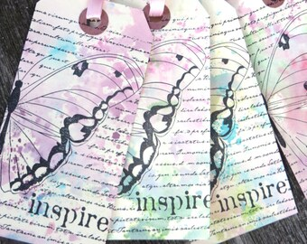 Hand Stamped Butterfly Gift Tags, Set of 5, Butterfly Gift Wrap, Birthday,  Inspire, Garden Scrapbooking, Summer Gift Tags