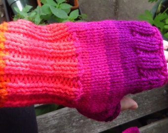 Hand Knitted Fingerless Mittens,  Pink Purple Texting Mittens