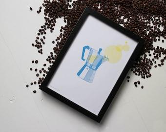 Percolator risograph print, the Coffee Collection by Studio Marije Pasman