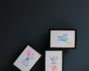 3 risograph Coffee prints, the Coffee Collection by Studio Marije Pasman
