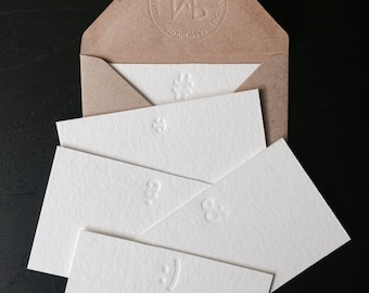 Letterpress: 5 Little note cards by Studio Marije Pasman, stationery set2, white, blind press, without ink