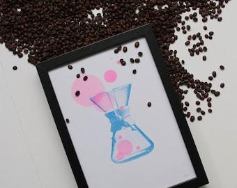 Chemex risograph print, the Coffee Collection by Studio Marije Pasman