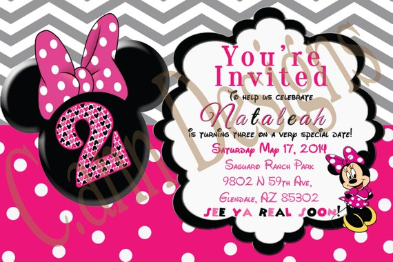 Minnie Mouse 2nd Birthday Invitations Etsy