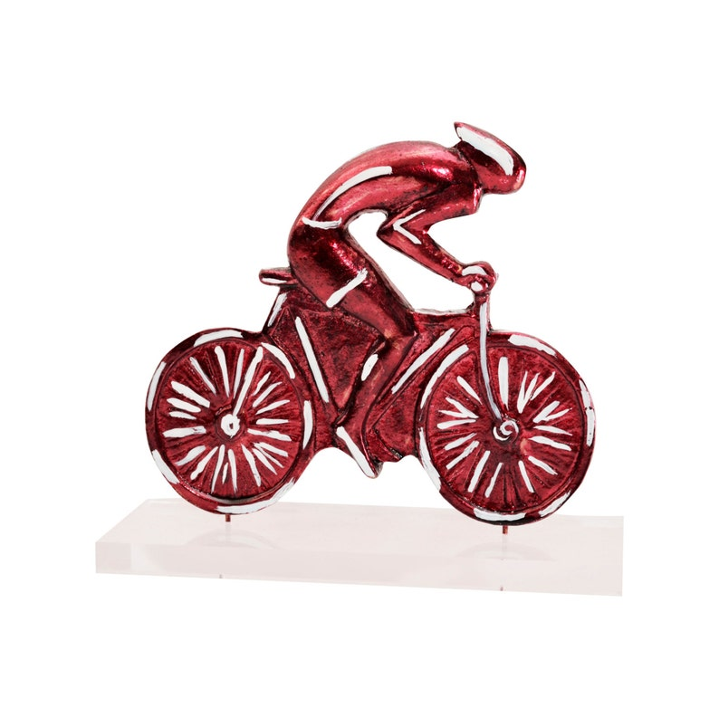 Bicycle Angel Rider sculpture Casted bronze,enamel colors, perspex  stand Handmade,Signed Pop Art Home Bike Decor Gift Cycling Office Decor