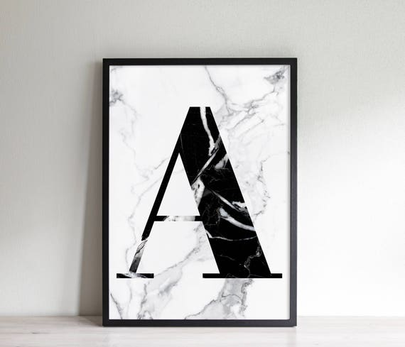 initial poster a marble effect black and white fashion etsyBlack And White Marble File #19