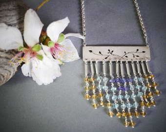 """Sterling Silver necklace with citrine-blue topaz-tanzanite fringe """"Lady of the Sun"""""""