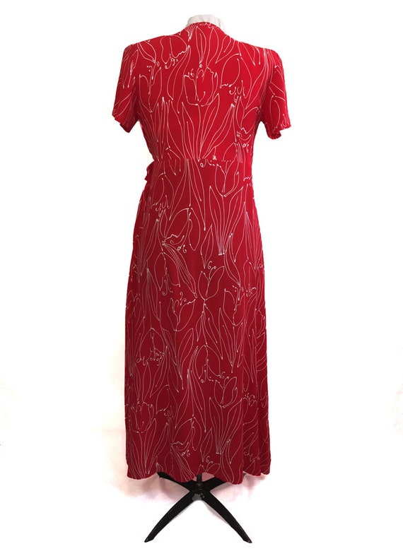 1980s Red Wrap Dress Tulip Line Drawing Print - image 2