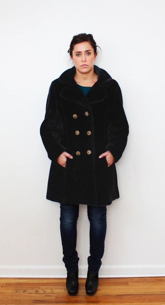 1960s Black Faux Fur Coat Mod Faux Fur Lion Head B