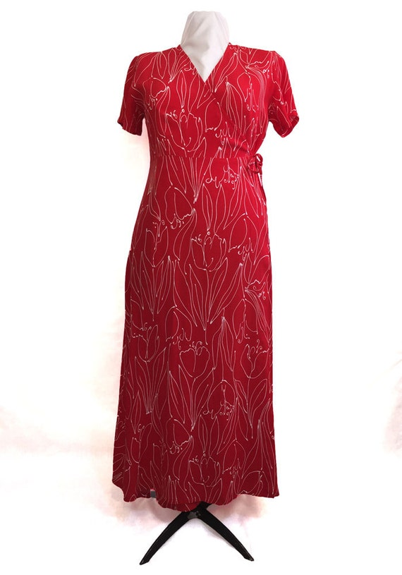 1980s Red Wrap Dress Tulip Line Drawing Print - image 1