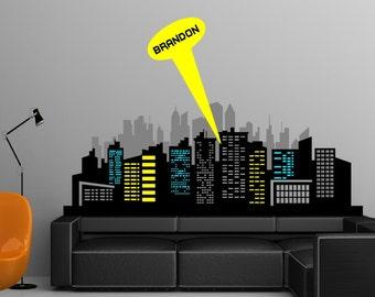 Removable Batman Gotham City Escape Skyline Buildings Lights Wall Decor Decal Sticker Home Nursery Decor
