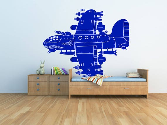 Removable Vintage Airplane Wall Window Art Decor Decal