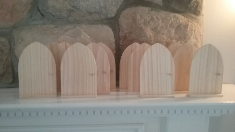 Set of 12 DIY Fairy Door or Tooth Fairy Door Unfinished Wood ready to complete with paint or other medium Freestanding