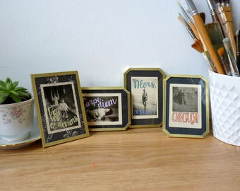 """Portrait photo upgraded medium size, serie """"Therese and her friends"""", black and white,gold, old school, upcycling"""