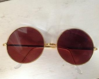 59ccfc4b5f Vintage 1960s Amber Brown OR Black Smoke Frame Hippie Sunglasses