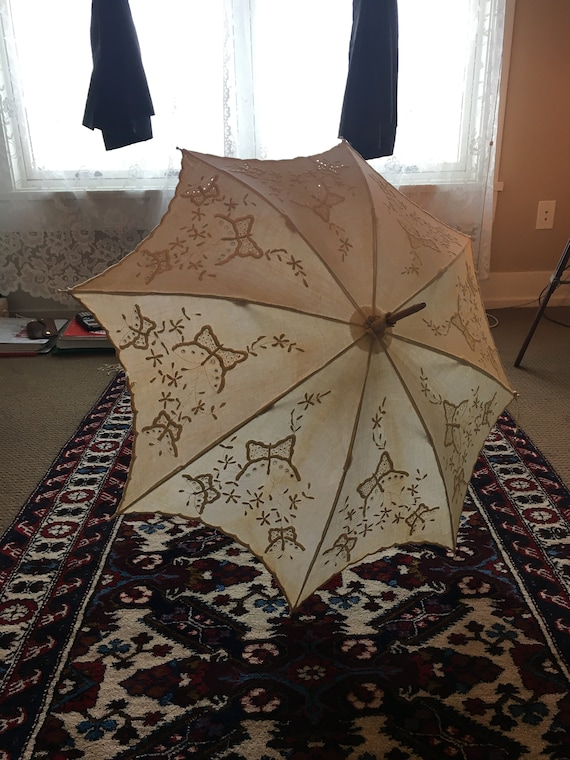 Antique 1800s White Butterfly Parasol