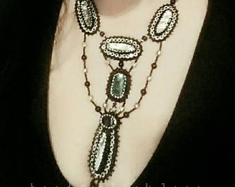 bead embroidery necklace • statement • victorian • gothic • witchy • stylish • beaded necklace • handmade jewelry by Bead and Black Lace