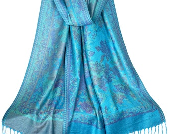 Turquoise Blue Floral Pashmina Scarves for Women | Light Blue Summer Spring Scarf Festival Scarf | Bridesmaid Gift Gift Festival Shawl Stole
