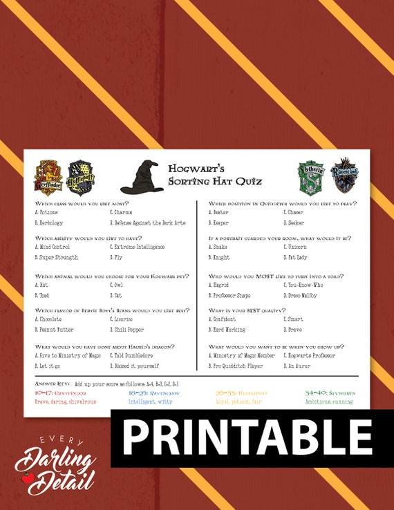 Adaptable image within printable sorting hat quiz
